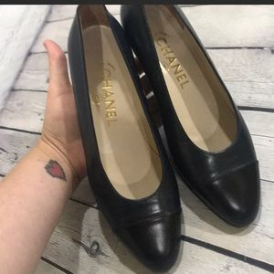 Chanel flats navy black